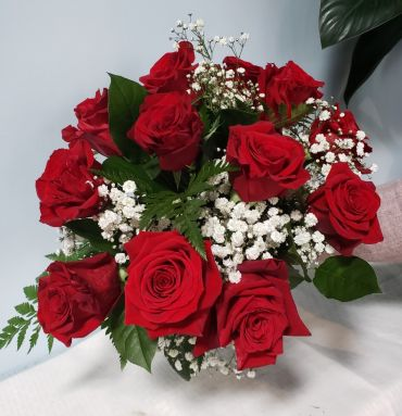 1 Dozen Red Rose bouquet- wrapped